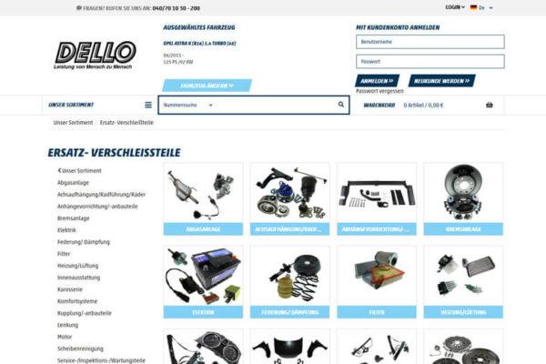 Onlineshop mit ERP-System Dello Fahrzeugteilegroßhandel