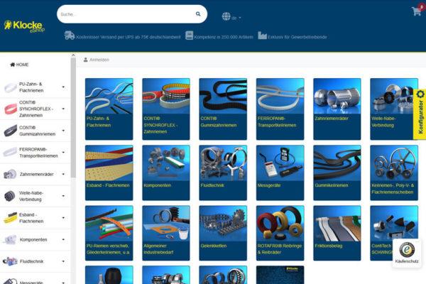 Onlineshop mit ERP-System Klocke Antriebstechnik