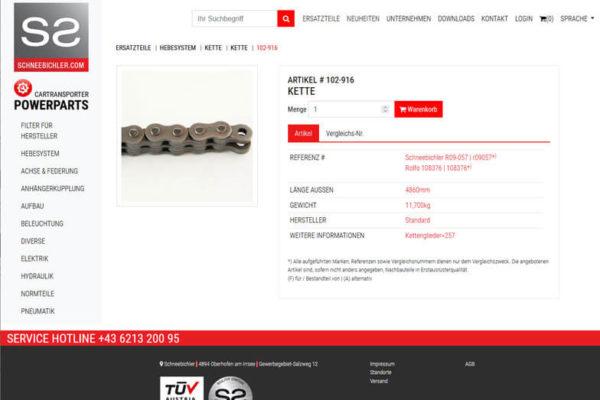 Onlineshop mit ERP-System Schneebichler Farzeugteile Großhandel